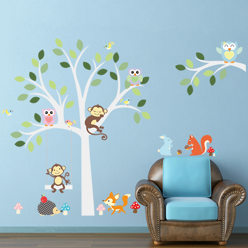 Owls Monkey Big Tree Wall Stickers Decals Kids birds vinilos infantiles Wallpaper Baby Girls Boys Home Room Nursery Door Decor - My Butterfly store