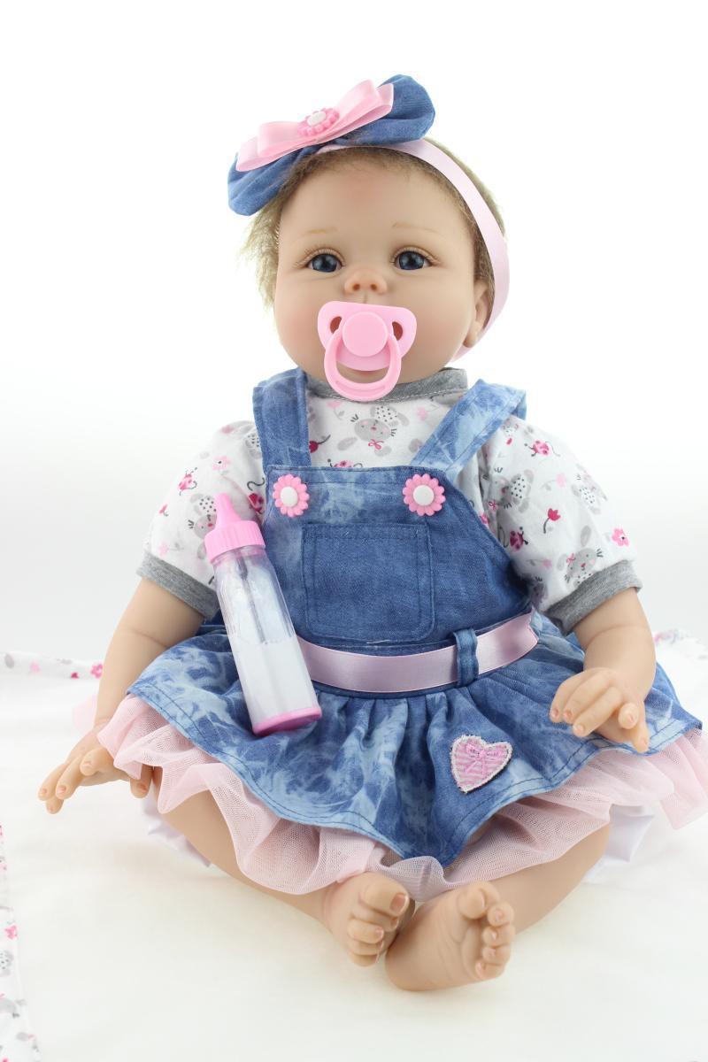 "22"" Baby-reborn girl doll handmade doll soft silicone vinyl fashion Denim skirt lifelike boneca reborn baby toys for kids(China (Mainland))"