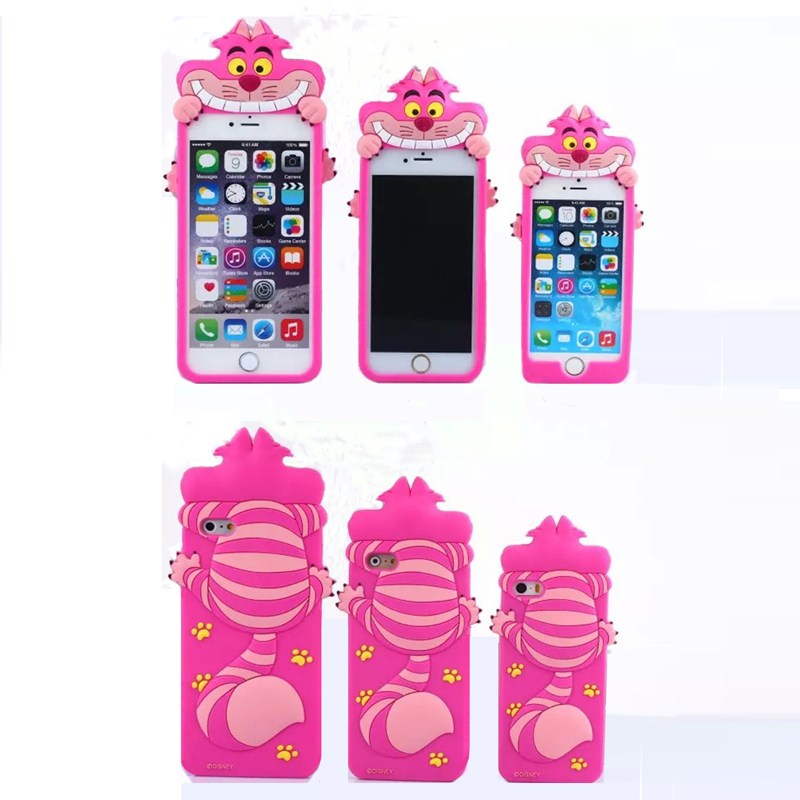 2015 The Newest 3D Cartoon animal rose Meow cat soft silicone For Iphone5 5s/6 4.7inch/6plus 5.5inch(China (Mainland))