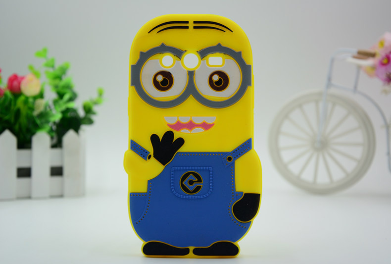Cartoon Yellow 3D Despicable 2 Minions Samsung Galaxy Core Dual SIM G355H Soft Silicone Skin Back Phone Cases Covers - Rose Angel store