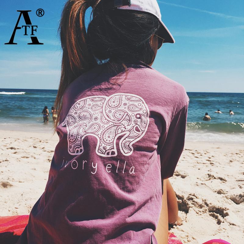 New 2016 Summer Ivory Ella T-shirt Women Tops Tee Print Animal Elephant T Shirt Loose Long Sleeve Harajuku TopsОдежда и ак�е��уары<br><br><br>Aliexpress