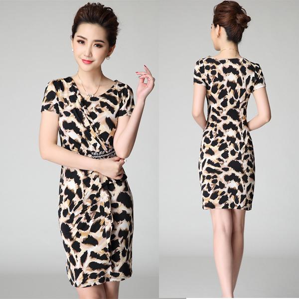 New summer fashion stretch bandage dressed short sleeve leopard prints dresses wrapped dresses XQ1460(China (Mainland))