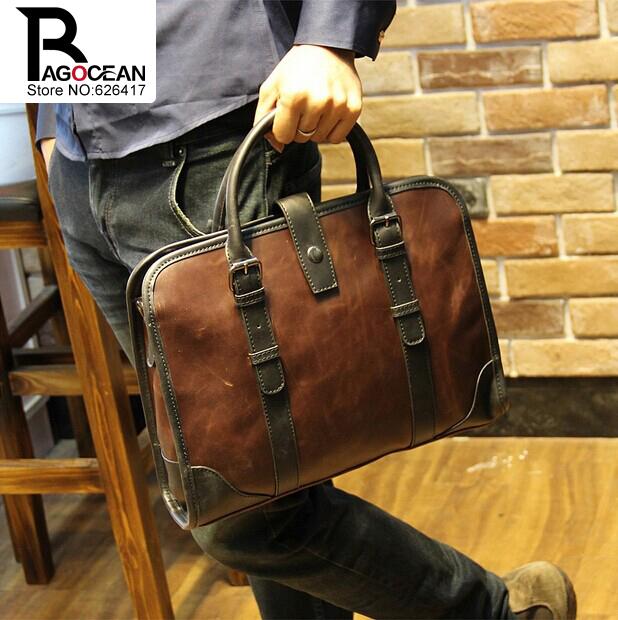 New fashion men leather pu briefcase messenger shoulder bag brands business handbag men's travel bag retro briefcase brown black(China (Mainland))