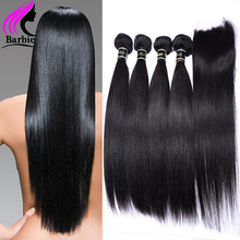Peruvian Virgin Hair Straight With Closure Peruvian Straight Hair Lace Closure 4 Bundles With Closure Human Hair With Closure(China (Mainland))
