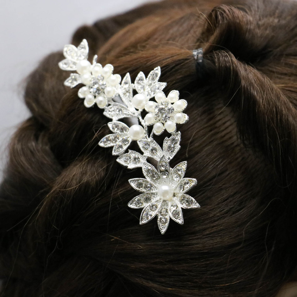 Trendy Hairwear Women Accessories Wedding Bridal Crystal Rhinestone Flower Faux Pearls Hairpin Diamante Hair Clip Comb 92*60cm(China (Mainland))