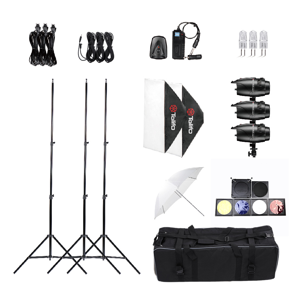 Light Stand Softbox Soft Umbrella Flash Trigger Tolifo Photography Photo Studio Speedlite Lighting Kit Set Studio Flash Strobe(China (Mainland))