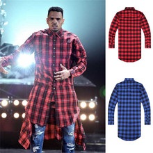 Hip Hop Tyga Cool Mens Tartan Shirts Extend Blue Red Dancing Hiphop Extended Shirts With Gold Zippers For Men AY829