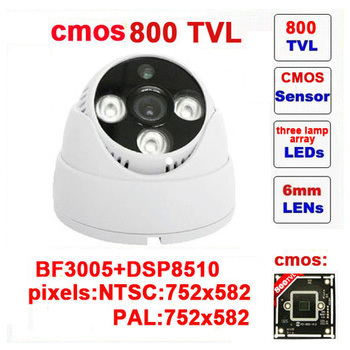 Free shipping real security camera system security cmos 800 tvl cctv camera three lamps array infrared dome indoor z80c(China (Mainland))