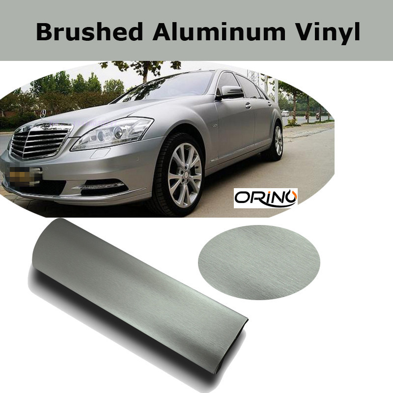 Premium Metal Silver Brushed aluminum Vinyl wrap Car wrapping Metallic brushed steel Wrap Film With Air Release 1.52*30M/Roll(China (Mainland))