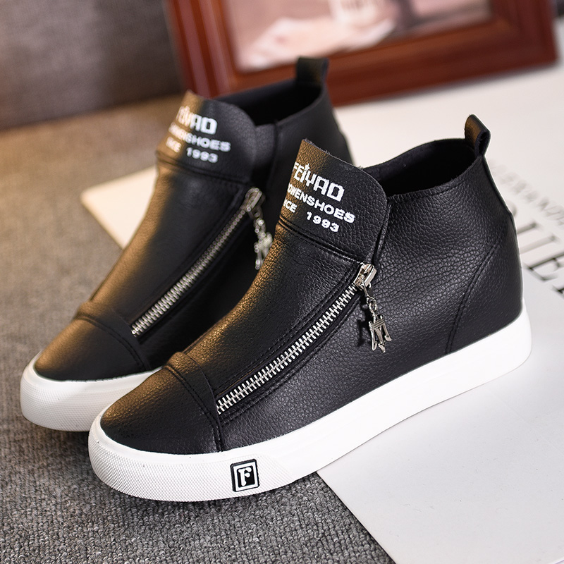 2016 New Solid Color Women Casual Shoes Woman Spring PU leather Brand Shoes High Top Fashion zipper platform Wedges shoes(China (Mainland))