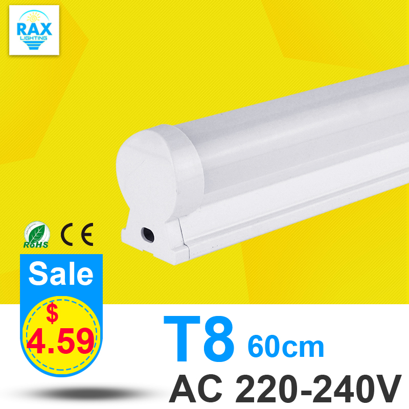 PVC Plastic 10W LED Tube T8 Light 220V 240V 60cm LED T8 Lamp Led Wall Lamp Cold White Led Fluorescent T8 Neon(China (Mainland))