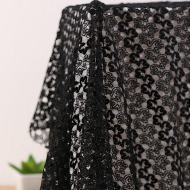 Черные водорастворимые ткани африка гипюр мода узор кружевной ткани полиэстер для женщин ну вечеринку платья свадебной одежды