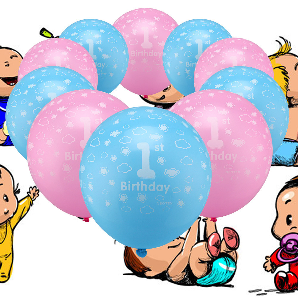 12 10pcs Boys &amp; girls 1st Birthday Printed Pearlised Latex Balloons Blue &amp; Pink for Birthday Party<br><br>Aliexpress