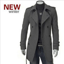 High quality New  Winter Fashion Double-breasted Men Trench Coats Long Slim Fashion  Men  Belt Trench for 2 Colors Choose(China (Mainland))