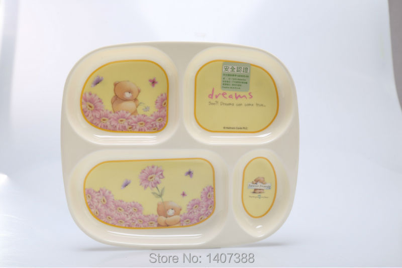 Multi-grils ceramic-like food plates melamine wares dinner trays cartoon service plate ages 6months and up NO-BPA 4 grills(China (Mainland))