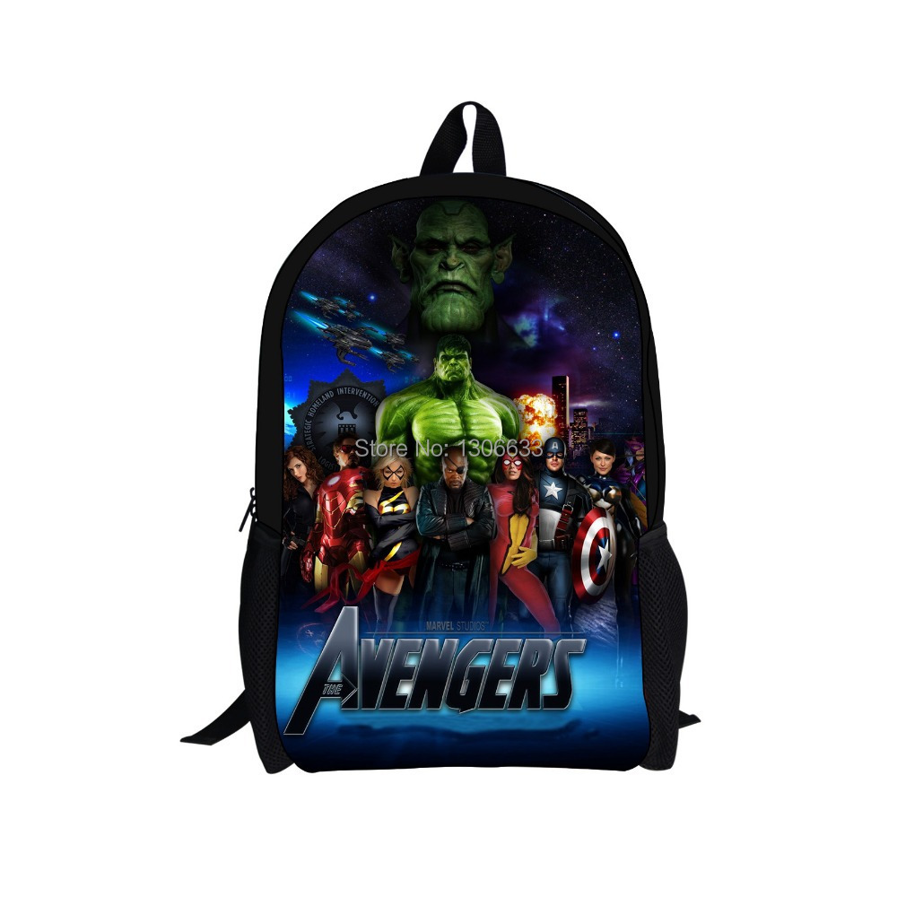 2014 Hot Sale Superman Character Men School Bag Children s Iron Man Avengers Backpacks Kids Boys