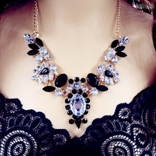 Moon Candy Black Shourouk Acrylic Flower Drop Shorts Gold Plated Choker Collar Statement Necklaces Fashion Women Wholesale N23(China (Mainland))