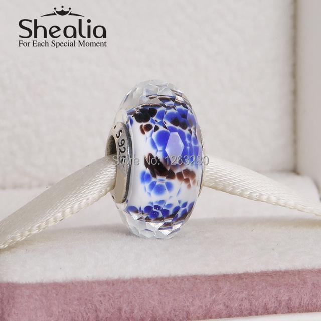 Подходит для pandora style браслеты синее море стеклянные бусины со смешанными цветами стекла стерлингового серебра 925 SHEALIA ювелирные изделия MG045