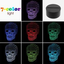 2016 Newest for pc usb light 3D Skull Illusion Lamp LED Table Desk Lamp Decor(China (Mainland))