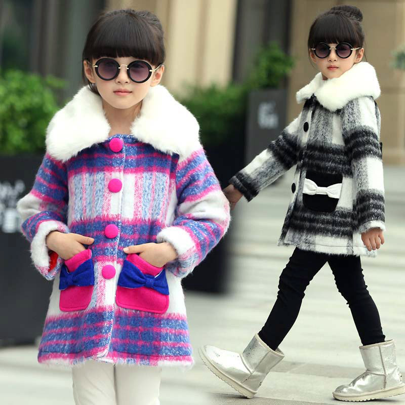 Vogue Design 4-16years Baby Girl Fancy Plaid Costumes Girls Turn-Down Collar Coat Girl Single Breasted Outerwear<br><br>Aliexpress