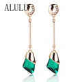 Fine Jewelry Charm Romantic Earrings For Women Brincos from india Gold Plated Geometric Crystal Drop Long