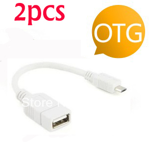 White 2PCS Micro USB Host Mode OTG Cable for Motorola XOOM Family Edition(China (Mainland))