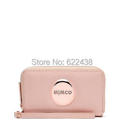 NEW MIMCO ZIP TECH PURSE PINK ROSEGOLD COLOR ZIP WALLET WITH PHONE 6 COMPARTMENT(China (Mainland))