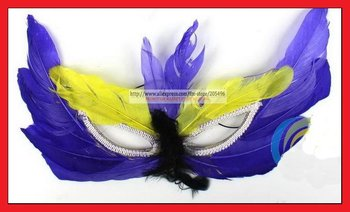 Free shipping! Colorful feather Halloween Venetian face mask , Christmas Masquerade party mask  wholesale