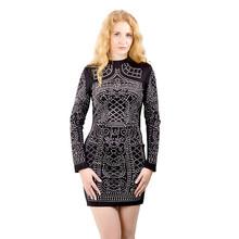 Fashion Sexy Geometric Pattern Rhinestone Turtleneck long-sleeved bodycon tight dress party dress ZC004(China (Mainland))