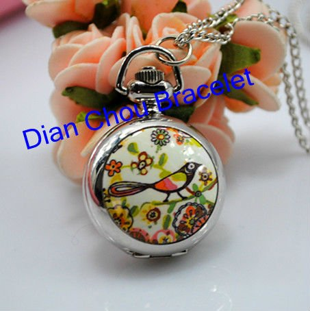 Freeshipping 20pcs lot mix different modles necklace small cute girls pocket watches ceramic flower surface Dia27mm