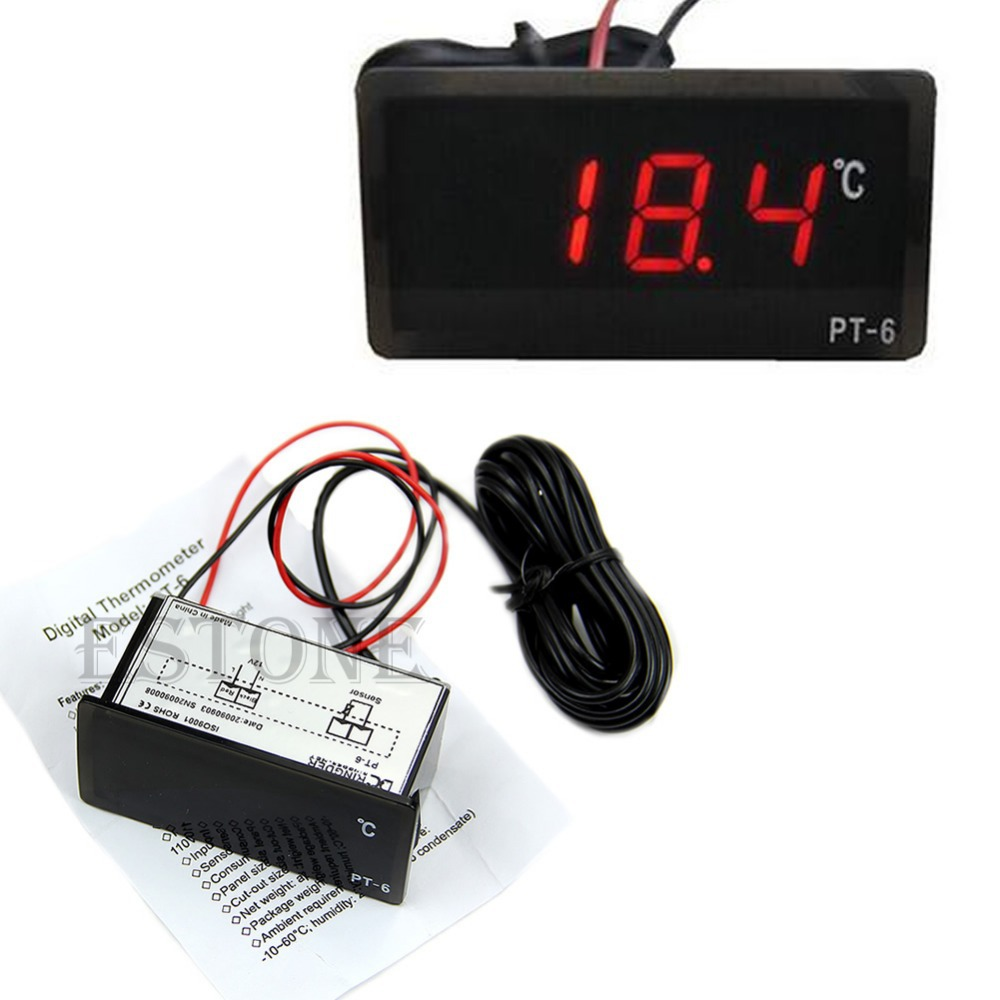 F85 Free Shipping Vehicle Digital Thermometer Car LED Temperature Meter Probe -40~110 centigrade 12V(China (Mainland))