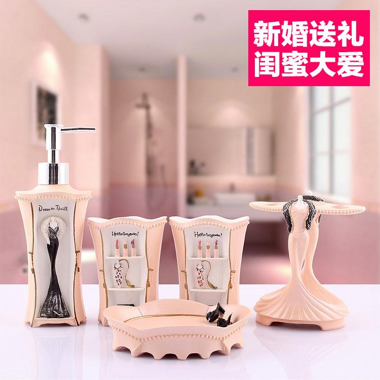Set De Baño Jabonera:Baño rosa Set accesorios Para el cuarto de baño cepillo de dientes