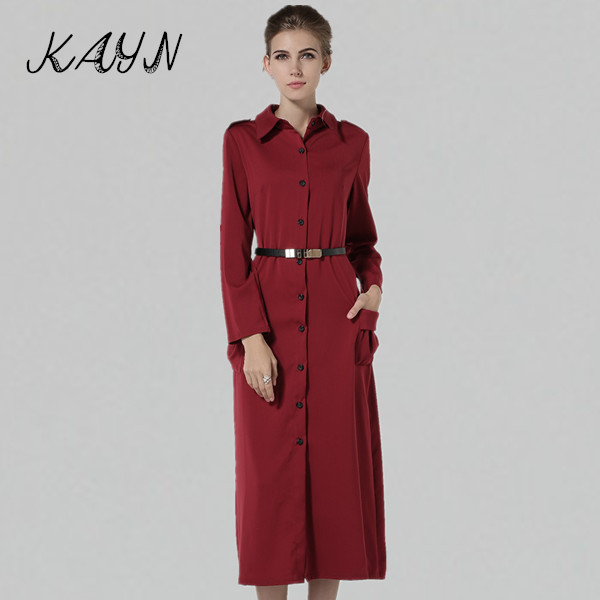 Fashion Women Long Dress Wine Red Brief Sleeve Double Pocket Ladies Plus Size Shirt Belt 2015 - KAYN Boutique Clothing store