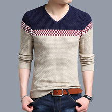 New V-NECK pullover sweater mens long sleeve geometric knitted fashion slim fit Keep warm sweaters pull homme plus size M-XXXL(China)