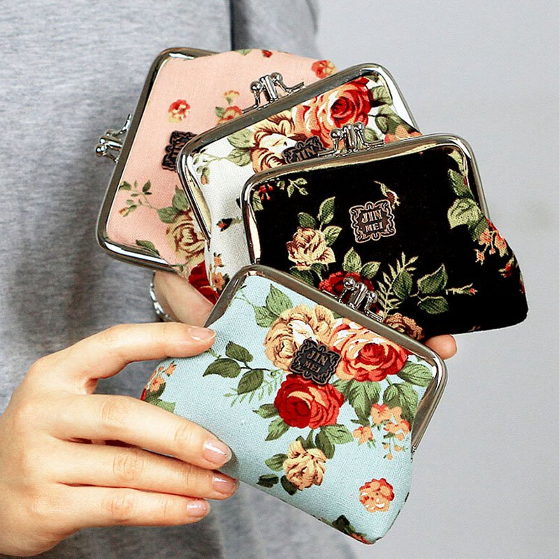 Fashion New Small Wallet Vintage Floral Print Canvas Coin Key Purse Mini Money Button Bag Women Clutch<br><br>Aliexpress