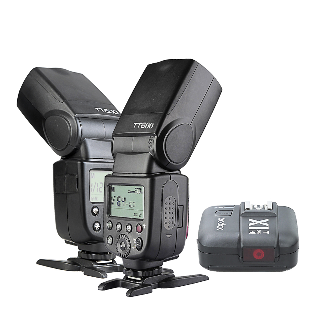 Free Shipping 2 pcs Newest Godox TT600 2.4G Wireless Camera Flashes Speedlite With X1T-N Transmitter for Nikon(China (Mainland))