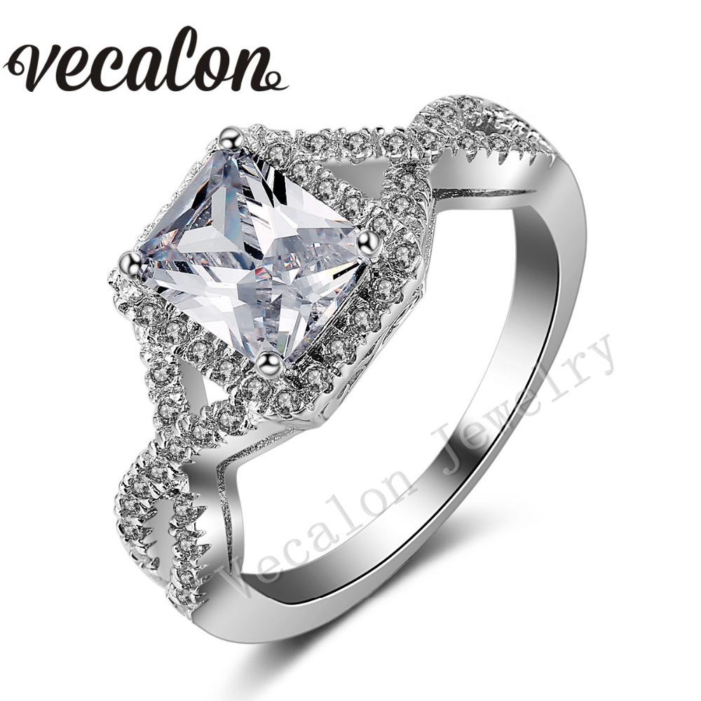 Vecalon Handmade Engagement Wedding ring Princess Cut 4ct Cz Simulated diamond 925 Sterling Silver Ring for Women(China (Mainland))