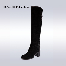 BASSIRIANA knee-high boots Suede women winter shoes for woman comfortable high heels shoe 35-40 Free shipping(China (Mainland))
