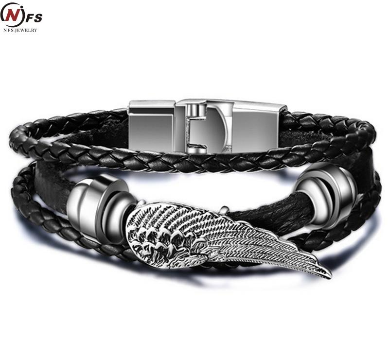 Men's Braided Genuine Leather Wing Bracelets Rock Punk Stainless steel Skeleton Charms Cuff Bracelet CROSS Bangles Jewelry(China (Mainland))
