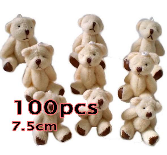 Wholesale 100pcs Teddy bear flush baby toys, plush toys. Soft Puppy Child Favor , 7.5CM(China (Mainland))