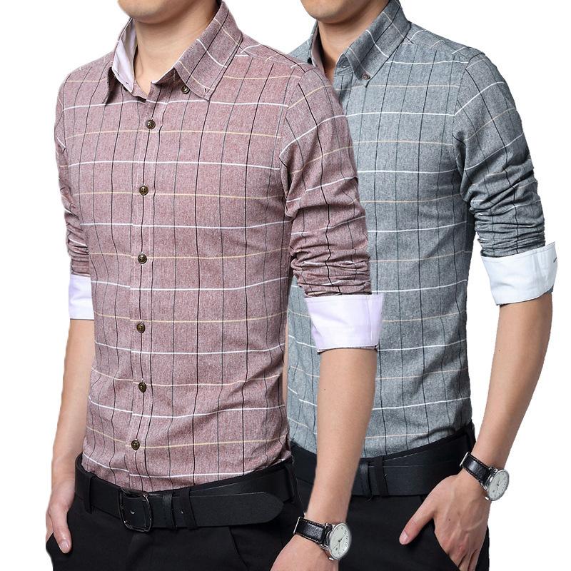 2015 new spring men shirt european grid brand high grade for European mens dress shirts