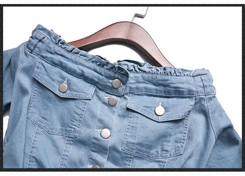 HTB1ZH8DQpXXXXbWaXXXq6xXFXXX1 - Must Have Women's Clothing Set, 2017 New Slash Neck Half Sleeve Denim Top and Denim Cotton Skirt One Set