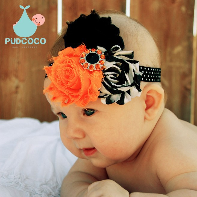 1 pieces New Arrive Halloween Style Baby Flower Diamond Hair Band Baby Headband Elasticity Accessories W158(China (Mainland))