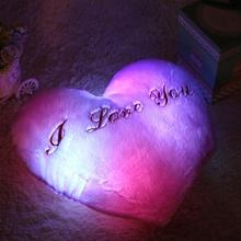 5 Colors Stuffed Plush Heart Shape LED Lights Music Colorful Heart Light Pillow Gift Hot Selling(China (Mainland))