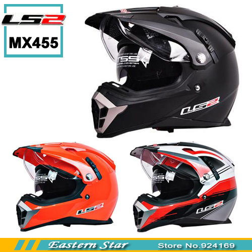 New LS2 motorcycle helmet MX455 dual lens professional off-road dirt bike helmet full face helmet safety adjustable airbags(China (Mainland))