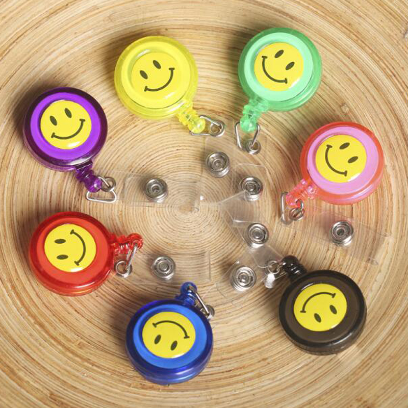 20 Pieces Retractable Reel Lanyard Smiling Face Card Badge Holder Supplies Metal Clip Cute Prize Gifts Material Escolar(China (Mainland))