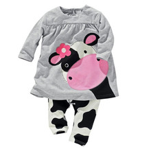 Горячая продажа весна осень девочка одежда случайный с длинными рукавами футболки + Брюки костюм Спортивный Костюм коровы костюм из девушек(China (Mainland))