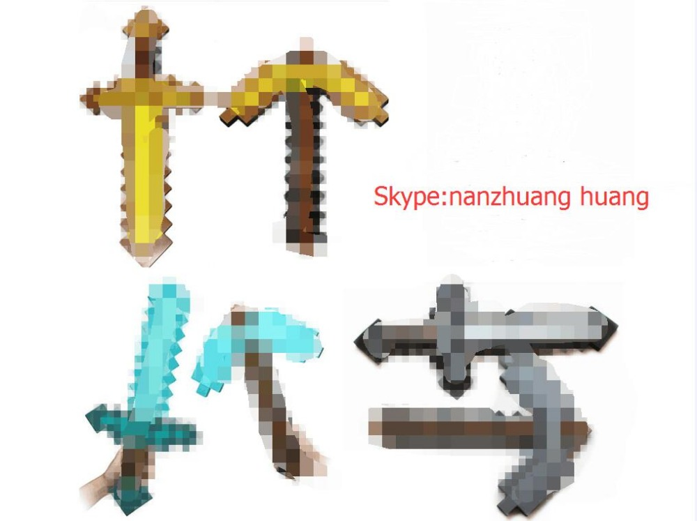 espada Minecraft,Minecraft Foam Sword & Pickaxe Toys Minecraft Game Toy Diamond Sword Action Figure Mosaic Toys for Kids(China (Mainland))