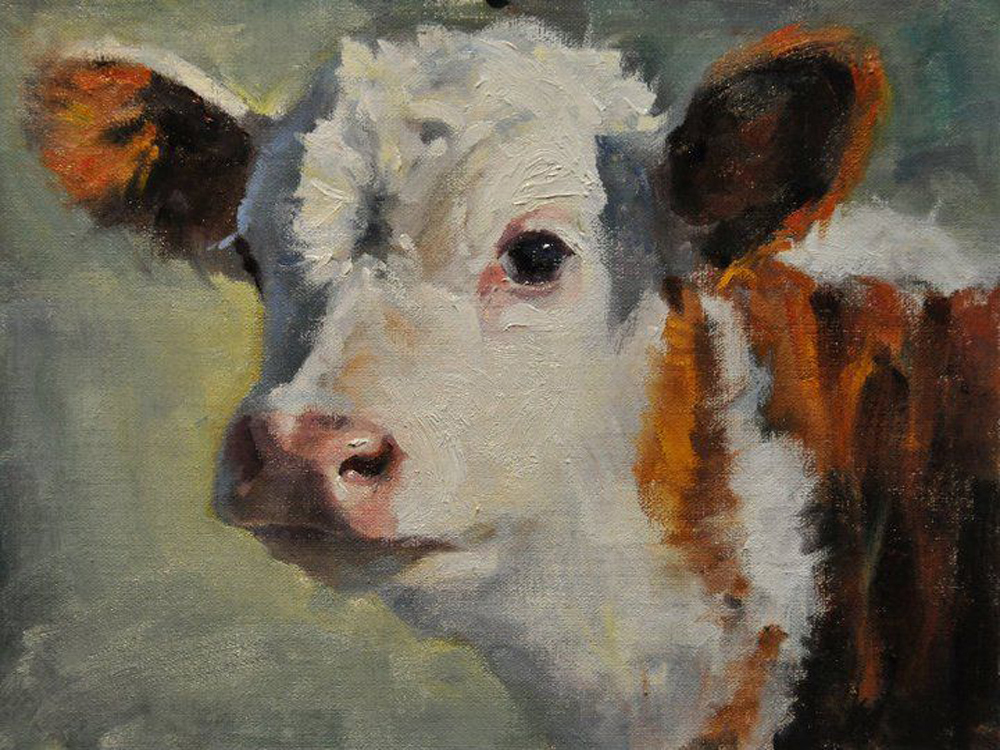 2015 New Hand Painted Good Quality Animal Cow Portrait Oil Painting On Canvas Living Room Decor Wall Animal Painting Artworks(China (Mainland))