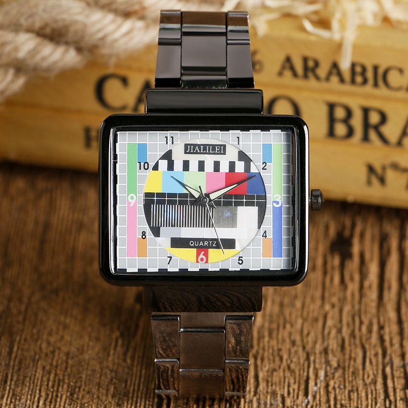 TV Test Signal Wrist Watch Sport TV Quartz Cool Simple Special Design Fashion Casual Unique Rectangle Television Men(China (Mainland))